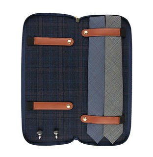Navy Travel Tie Storage Case