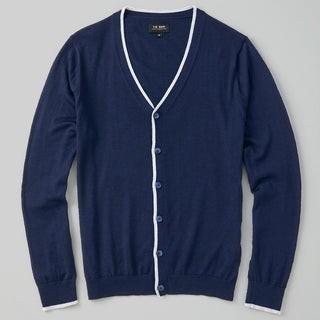 Perfect Tipped Merino Wool Cardigan Navy Sweater