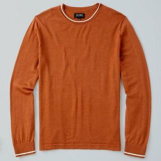 Perfect Tipped Merino Wool Crewneck Rust Sweater