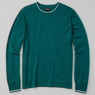 Perfect Tipped Merino Wool Crewneck Green Sweater