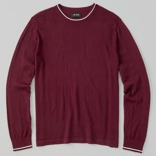 Perfect Tipped Merino Wool Crewneck Burgundy Sweater
