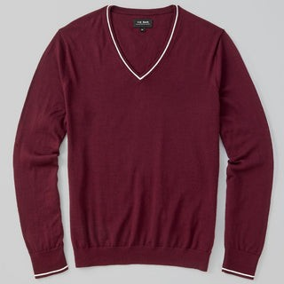 Perfect Tipped Merino Wool V-Neck Burgundy Sweater