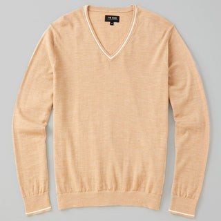 Perfect Tipped Merino Wool V-Neck Camel Sweater