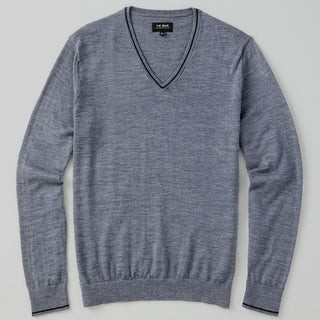 Perfect Tipped Merino Wool V-Neck Heather Grey Sweater