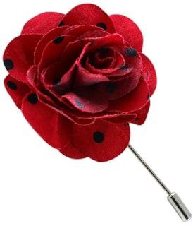 Cotton Dots Red Lapel Flower