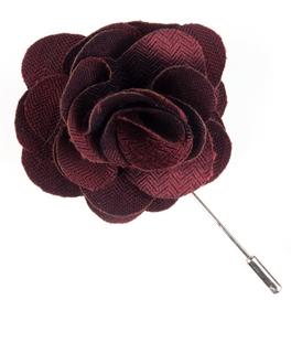Astute Solid Burgundy Lapel Flower