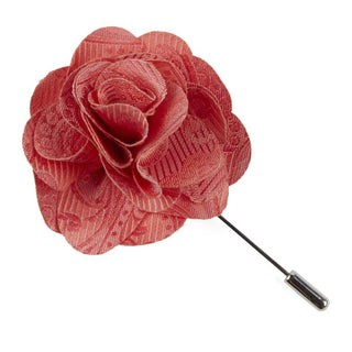 Twill Paisley Coral Lapel Flower