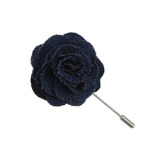 Wool Suiting Solid Blue Lapel Flower