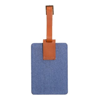 Blue Leather Luggage Tag