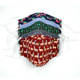 5 Pack Cotton Navy Holiday Face Mask