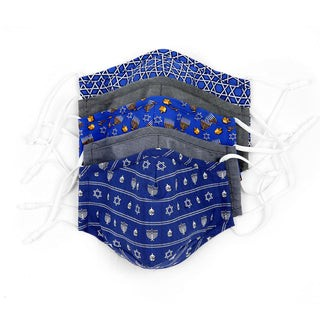 5 Pack Cotton Blue Hanukkah Face Mask