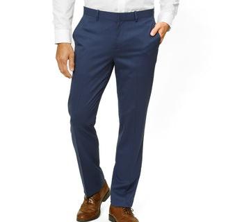 Solid Wool Bright Navy Dress Pants