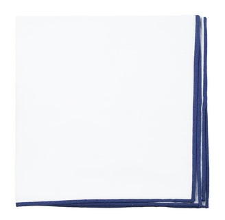White Cotton With Border Navy Pocket Square