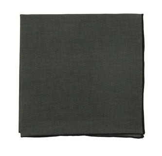 Solid Color Cotton With Border Charcoal Pocket Square