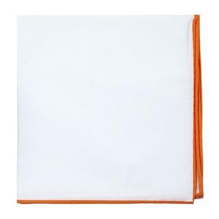 White Cotton With Border Orange Pocket Square