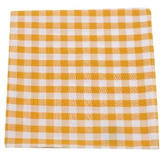 Cotton Table Plaid Mustard Pocket Square