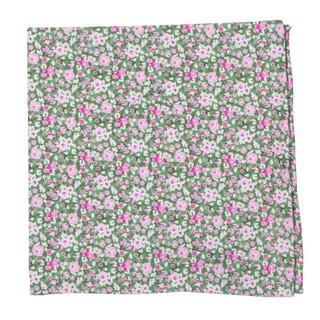 Freesia Floral Olive Pocket Square