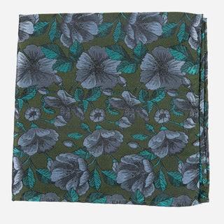 Monarch Floral Olive Green Pocket Square