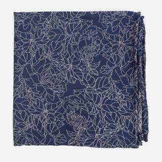 Lace Floral Navy Pocket Square