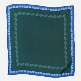 Tie Bar x Michel Men Classic Paisley Hunter Green Pocket Square