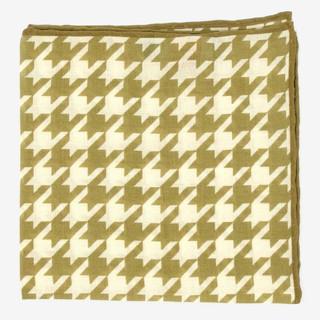 Large Houndstooth Olive Pocket Square