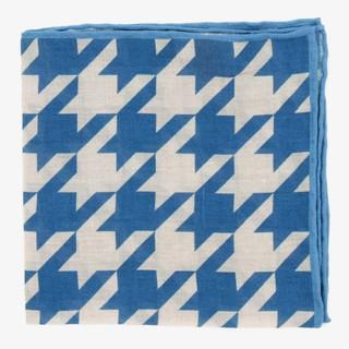 Oversized Houndstooth Blue Pocket Square