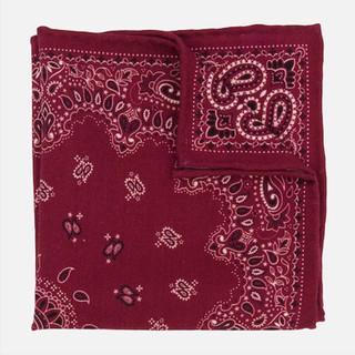 Printed Wool Bandana Burgundy Pocket Square