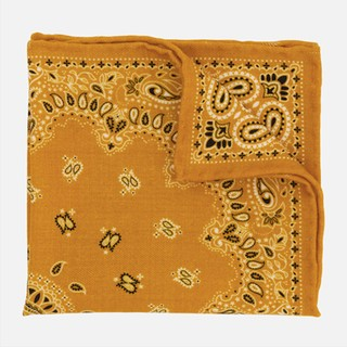 Printed Wool Bandana Mustard Pocket Square