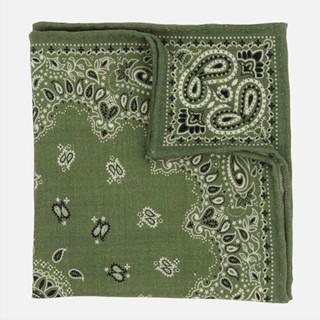 Printed Wool Bandana Olive Green Pocket Square