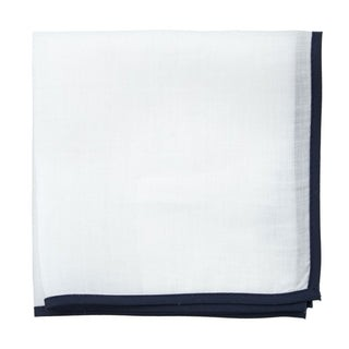 White Linen With Border Navy Pocket Square