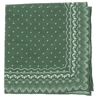 Outpost Paisley Olive Green Pocket Square