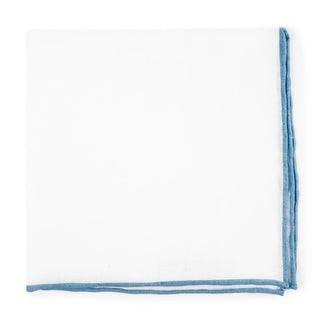 White Linen With Rolled Border Light Blue Pocket Square