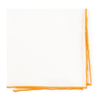 White Linen With Rolled Border Mustard Pocket Square