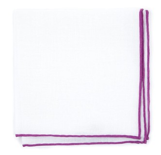 White Linen With Rolled Border Azalea Pocket Square