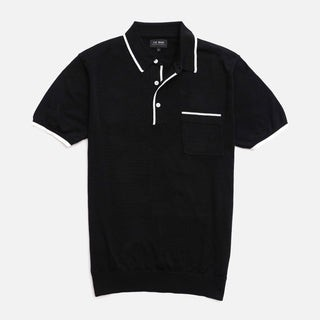 Tipped Cotton Sweater Black Polo