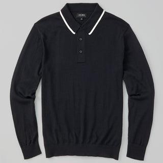 Perfect Tipped Merino Wool Black Polo