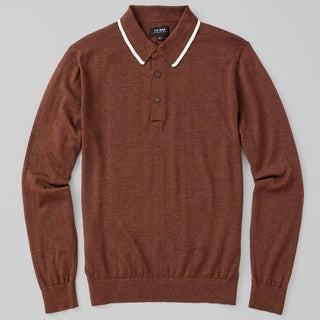 Perfect Tipped Merino Wool Chocolate Brown Polo