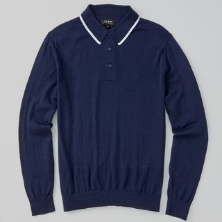 Perfect Tipped Merino Wool Navy Polo