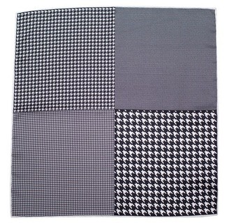 Houndstooth Panel Black Pocket Square