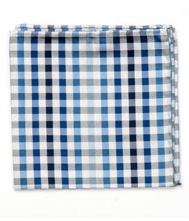 Gibson Check Blue Pocket Square