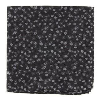 Free Fall Floral Black Pocket Square