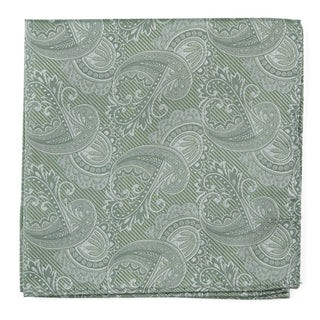 Twill Paisley Moss Green Pocket Square