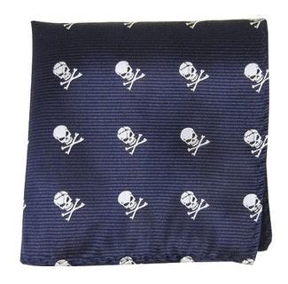 Skull And Crossbones Navy Pocket Square