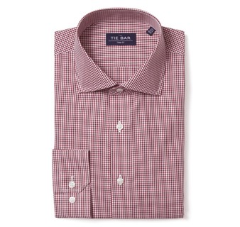 Petite Gingham Burgundy Non-Iron Dress Shirt