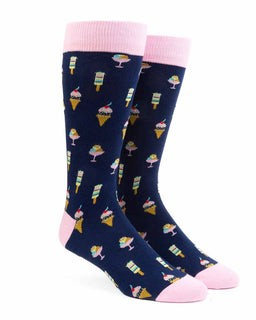 Ice Cream And Popsicles Navy Dress Socks