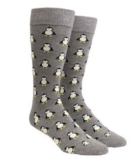 Cool Penguins Charcoal Dress Socks