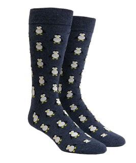 Cool Penguins Navy Dress Socks