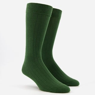 Wide Ribbed Olive Green Dress Socks