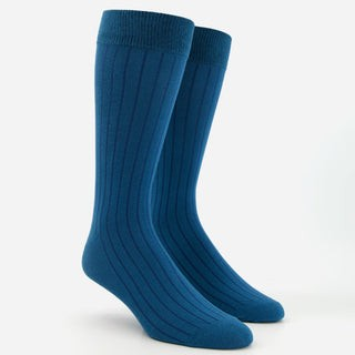 Wide Ribbed Teal Dress Socks