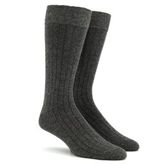 Wide Ribbed Heather Charcoal Dress Socks